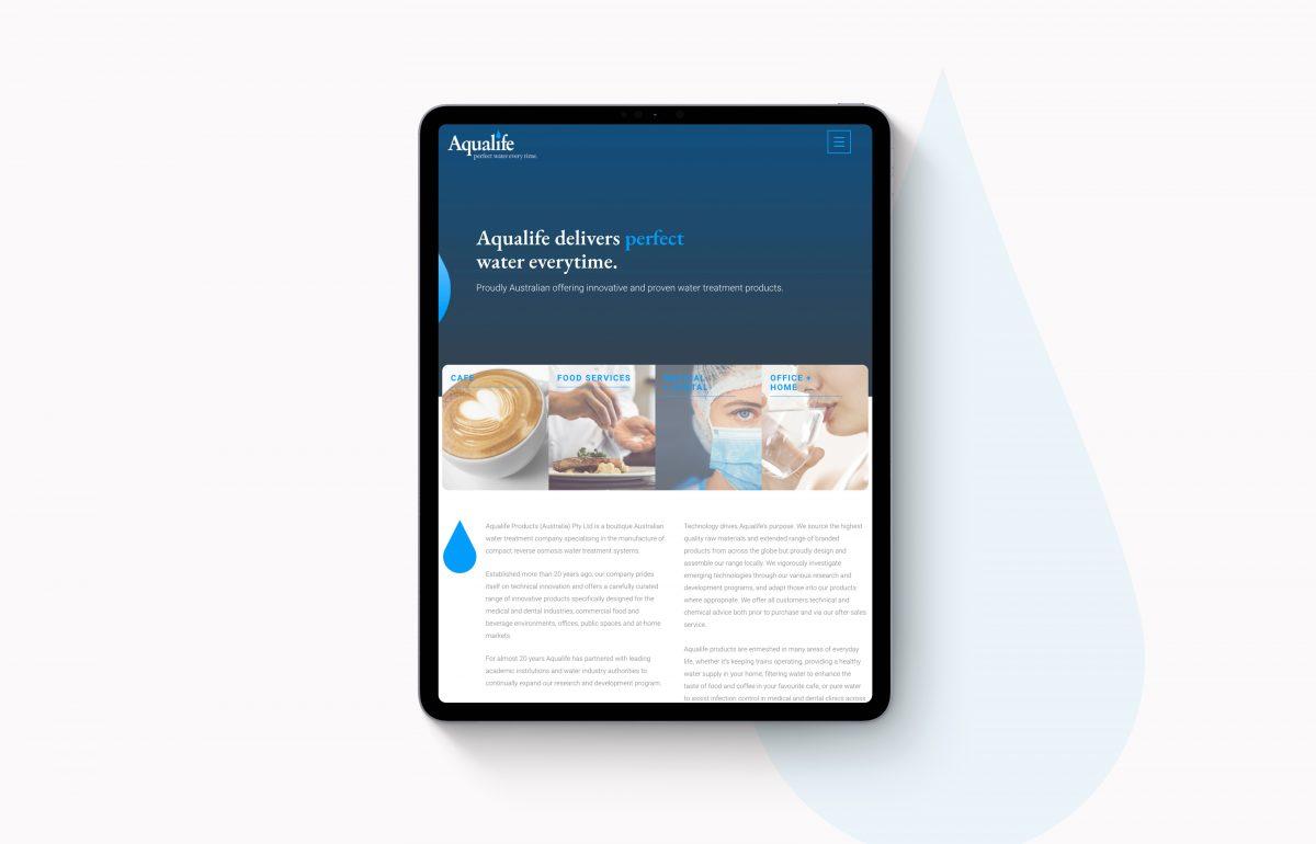 Aqualife- Website development for tablets